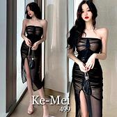 克妹Ke-Mei【ZT68911】Vnnie法式小香風皺胸開叉晚禮服中長洋裝