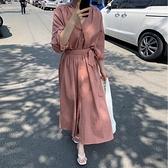 韓國長洋裝 綁帶長款女連身裙 依米迦