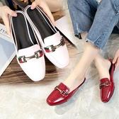 降價兩天 包頭半拖鞋女外穿2020夏季新款韓版方頭漆皮金屬平底拖鞋女鞋