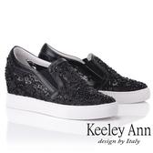 ★2019春夏★Keeley Ann墊起腳尖愛 花卉水鑽內增高休閒鞋(黑色)-Ann系列