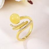 戒指 925純銀 琥珀-氣質大方生日情人節禮物女開口戒73ga48【時尚巴黎】