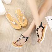 韓版時尚羅馬涼鞋夾趾海邊沙灘鞋防滑平底鞋女鞋