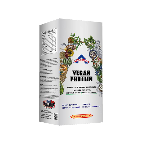 美國ANGELAB PLANT PROTEIN 素食蛋白1.41 磅/640公克 (經典香草口味) 盒裝/20入 健身 素食者福音 公司貨