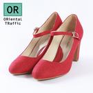 復古圓頭繫帶瑪麗珍鞋-復古紅(8105_RD)