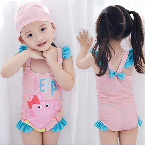 *╮小衣衫S13╭*可愛粉色小豬連體泳衣 1060509