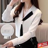 撞色領結雪紡襯衫 M~2XL【324318W】【現+預】-流行前線-