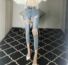 窄管褲 褲子九分破洞乞丐牛仔褲女士裝夏季高腰顯瘦緊身小腳褲-Ballet朵朵