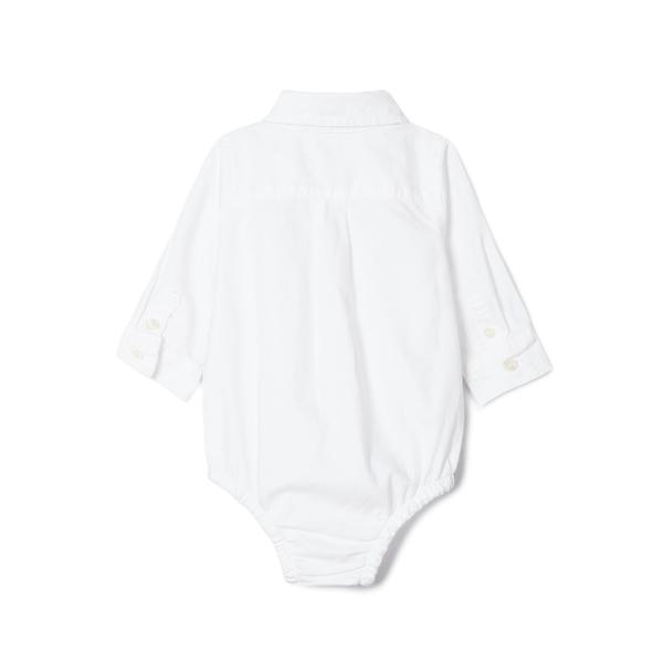 Gap嬰兒 布萊納小熊刺繡牛津布鈕扣長袖包屁衣 849920-恬靜羽白色