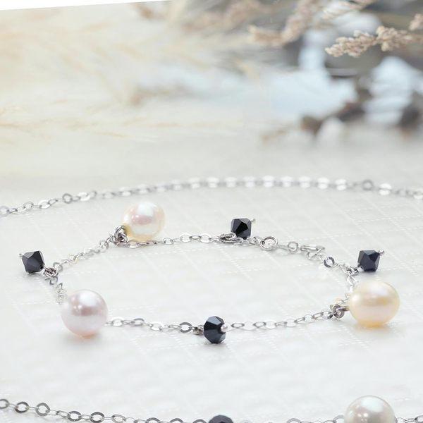 ﹝鑽石屋﹞黑水晶珍珠手鍊 天然彩珠 粉色珍珠(另有項鍊)