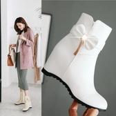中筒靴 馬丁靴子冬季新款女鞋韓版側拉鏈坡跟中筒靴 萬客居