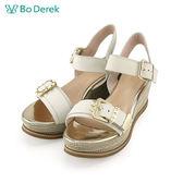 【Bo Derek 】麻編珠飾寬帶楔型涼鞋-米色