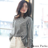 ❖ Spring ❖ 船型領格紋喇叭袖襯衫/上衣 - Green Parks