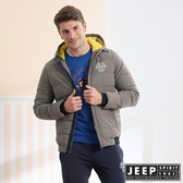 【JEEP】運動風連帽羽絨外套 (灰色)