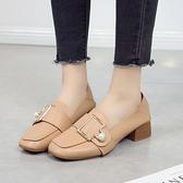樂福鞋 女鞋2021年新款單鞋春秋鞋小皮鞋樂福鞋春款英倫風粗跟一腳蹬中跟 小衣裡