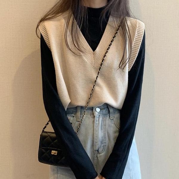 馬甲 秋季2021年新款V領上衣外搭春短款無袖毛衣針織馬甲背心外套女【快速出貨八折鉅惠】