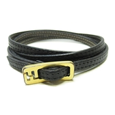 FENDI 黑色牛皮手環Lather Bracelet 【二手名牌BRAND OFF】