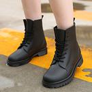 【809】女款時尚底筒加厚耐磨雨靴 馬丁水鞋膠鞋