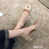 方頭單鞋女2020新款春季春款中跟百搭春秋女鞋夏天鞋子粗跟高跟鞋 露露日記