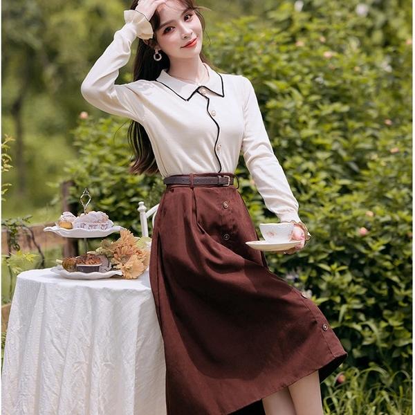 兩件套滾邊流線針織上衣棕色及膝裙(針織上衣+棕色裙)[99235-QF]美之札