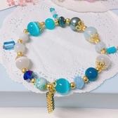 獨家設計 華麗貓眼石流蘇水晶串珠手環 手鍊