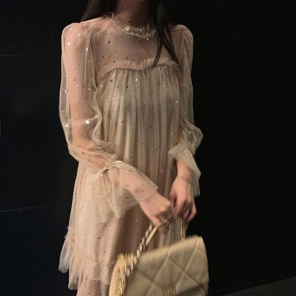 禮服韓國chic秋裝新款可鹽可甜亮片連衣裙ins網紗仙女性感晚禮服 優拓