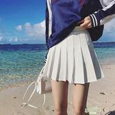 (全館88折)夏季學院風網球裙白色百褶裙短裙高腰Aa字半身裙大尺碼學生裙褲