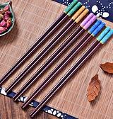 現貨 高檔實木筷子5雙10雙家用套裝紅木一人一色無漆防滑宮廷仿瓷餐具 【全館免運】