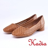 kadia.編織縷空牛皮包鞋(9006-30棕色)