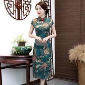 媽媽禮服媽媽連身裙中老年女夏裝結婚宴禮服婚慶中年婆婆老上海旗袍裙過膝 童趣屋  新品