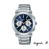 agnes b. 深藍三眼碼表鋼帶錶 38mm BT3029X1 V564-KP30B 公司貨   名人鐘錶高雄門市