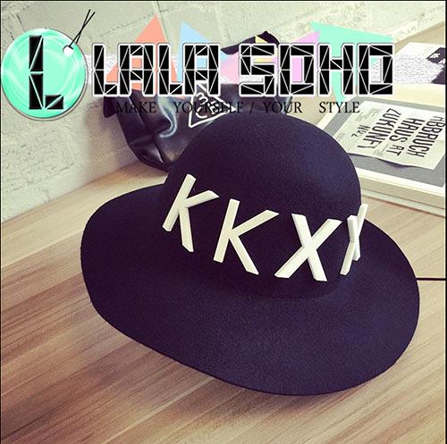 韓版 壓克力字母 KKXX 超大帽簷羊毛漁夫 帽子 氈帽女士 秋冬季 休閒盆帽