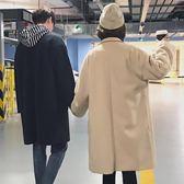 秋冬季韓版呢大衣男女中長款寬鬆毛呢加厚情侶風衣呢子保暖外套潮