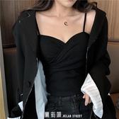 港味外穿女裝性感修身小黑色吊帶背心韓版內搭打底衫女新款夏 「米蘭街頭」