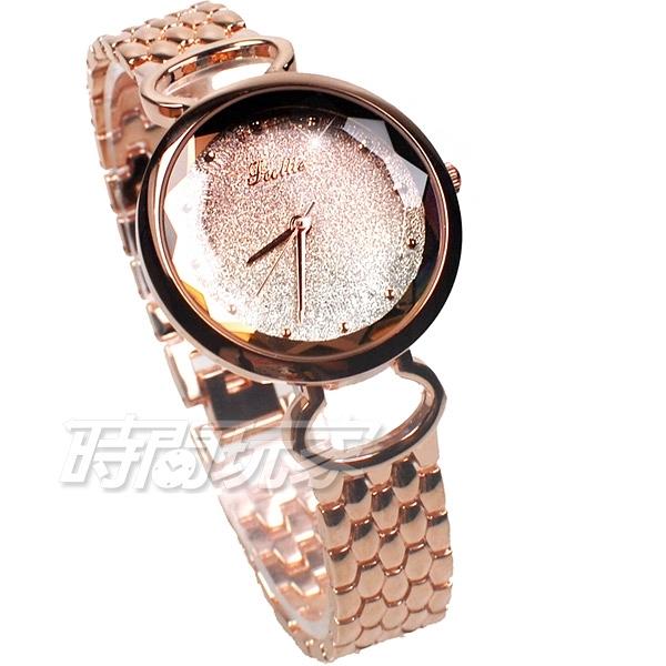 Jcottie 詩高迪 閃耀視線 寶石切割鏡面 防水手錶 學生錶 女錶 手鍊錶 玫瑰金x金 8069-1