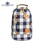 【COLORSMITH】CC・豬鼻造型休閒後背包-藍灰格紋・CC1384-GB