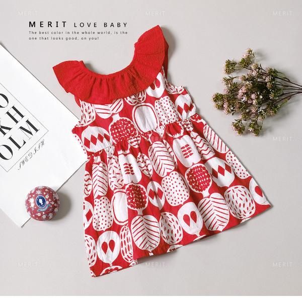 純棉 夏日熱帶渡假水果派對圓領洋裝 女童洋裝 棉麻 荷葉領 無袖 綁帶 蝴蝶結 大紅 洋裝上衣