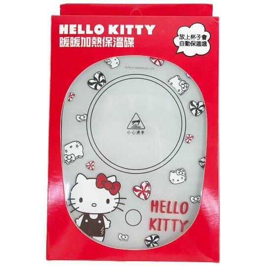 小禮堂 Hello Kitty USB玻璃保溫杯墊 恆溫杯墊 暖暖杯墊 USB杯墊 (紅 大臉) 4710810-64202