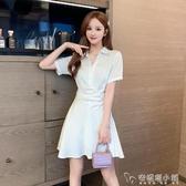 白色襯衫裙女夏季新款修身顯瘦短袖襯衣洋裝氣質女神范衣服 安妮塔小鋪