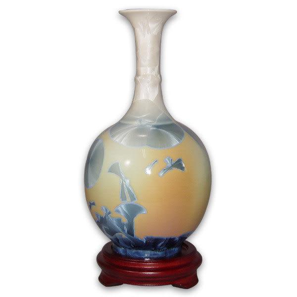 鹿港窯~居家開運結晶釉花瓶~8.8英吋短頸瓶;購物清單:1件