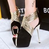 超高跟鞋子 性感細跟顯瘦交叉帶鞋 防水臺魚口鞋《小師妹》sm1420