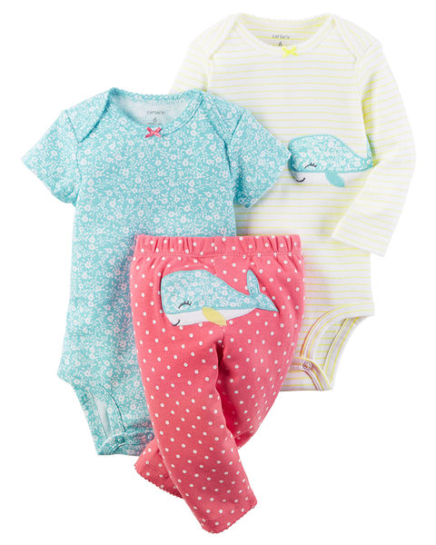 3件組長短袖包屁衣+長褲套裝: 水藍鯨魚: 126G588