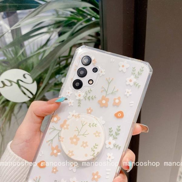 日韓透明|三星 A51 A71 4G A31 A21s 小清新花朵 透明殼 氣囊支架 手機殼 保護套 碎花防摔殼
