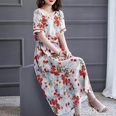 棉麻連衣裙女2021夏季新款減齡高腰顯瘦遮肚子中長款短袖裙子麻紗 快速出貨