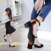 包頭涼鞋新款小清新拼色高跟小碼一字扣尖頭粗跟女鞋 JD5346【3C環球數位館】