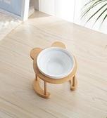 寵物碗 貓碗高腳貓咪喂食碗保護頸椎斜口狗碗可愛貓盆雙碗陶瓷飲水寵物【快速出貨好康八折】