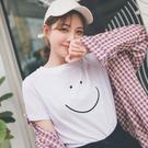 MUMU【T15015】簡約微笑笑臉圓領T恤上衣