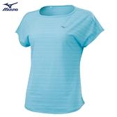 MIZUNO 女裝 短袖 T恤 瑜珈 吸汗快乾 透氣 藍【運動世界】K2TA120123