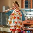 家居服 彩詩璐睡衣女夏季短袖韓版精梳純棉質學生春薄款可外穿家居服套裝寶貝計畫 上新