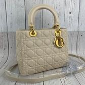 BRAND楓月 Christian Dior 迪奧 米色羊皮LADY DIOR 5X5 舊版 經典手提包 斜背包 側背包