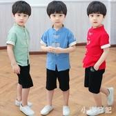 漢服男童夏季兒童古裝中國風男小孩復古棉麻套裝寶寶薄款中式唐裝 GD860『小美日記』